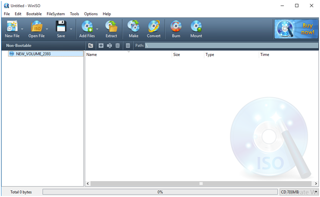WinISO Files opener free download for windows User interface