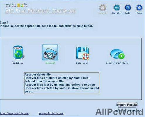 Aid File Recovery Software User Interface