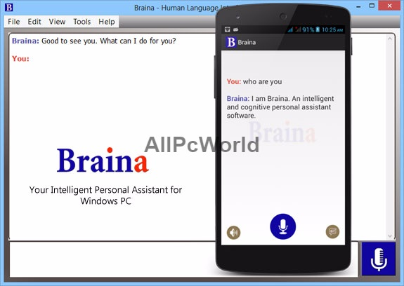 Braina Virtual assistant user interface