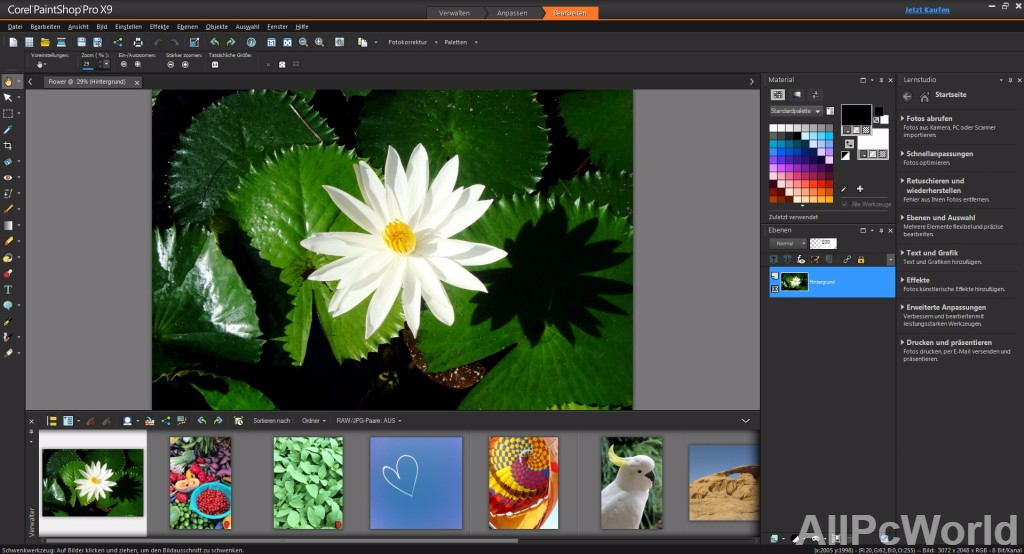 Corel PaintShop Pro X9 User Interface