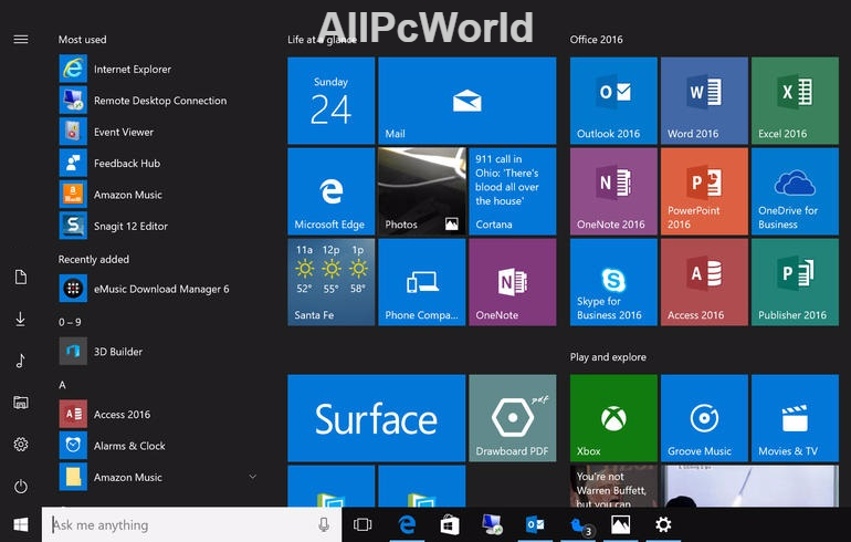 Windows 10 Anniversary Update Start Menu