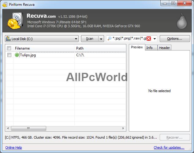 Recuva User Interface