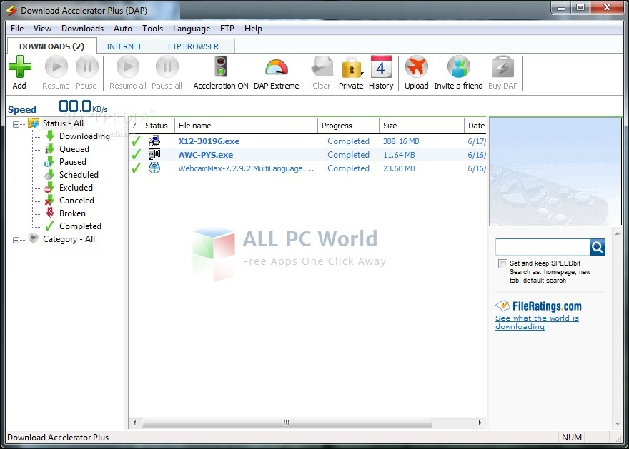 Download Accelerator Plus (DAP10) - ALL PC World