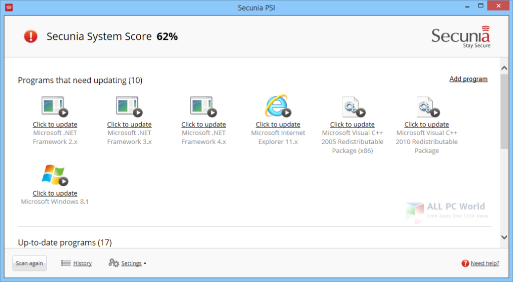 Personal Software Inspector 3.0 User Interface