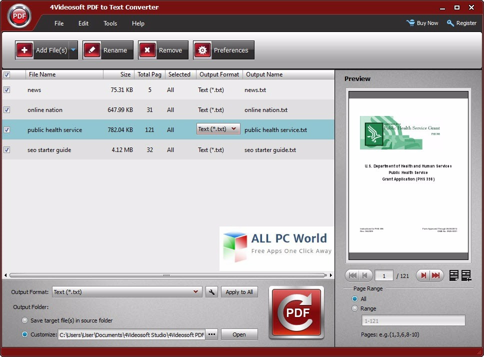 4Videosoft PDF to Text Converter 3.2 User Interface