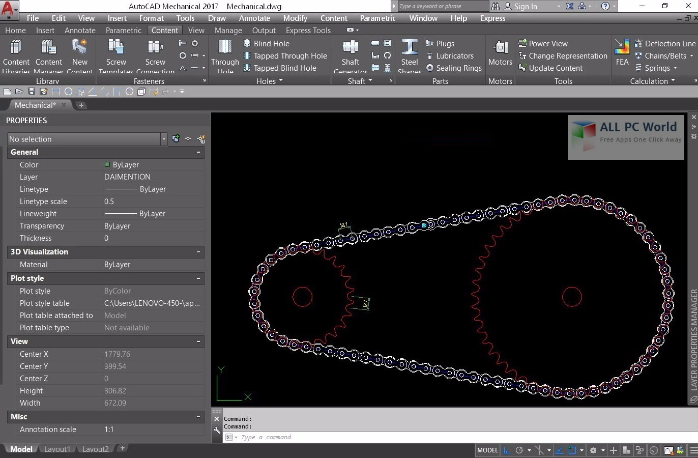 Autodesk AutoCAD Mechanical 2017 User Interface