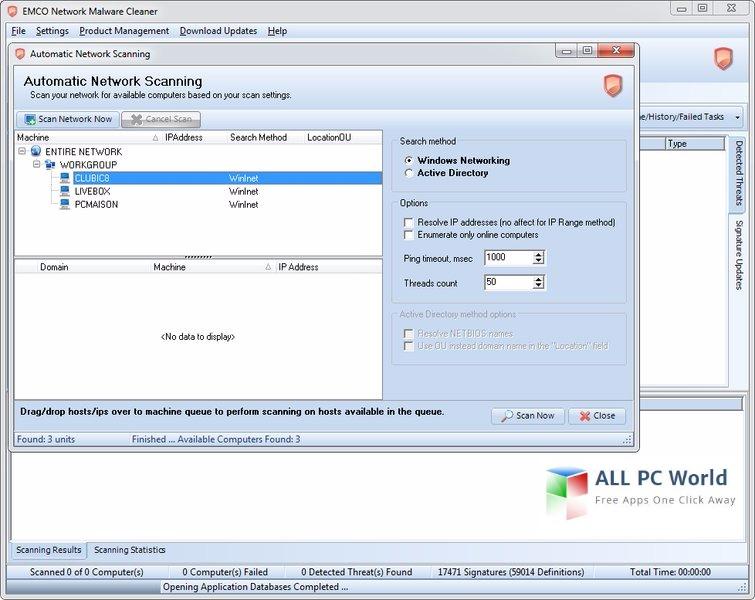 EMCO Network Malware Cleaner 6.3 User Interface