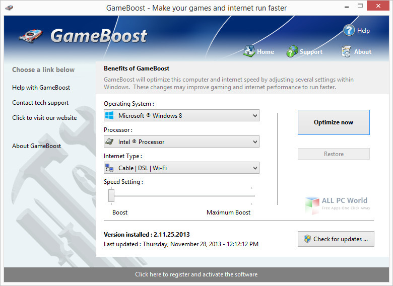 GameBoost 3.12 User Interface