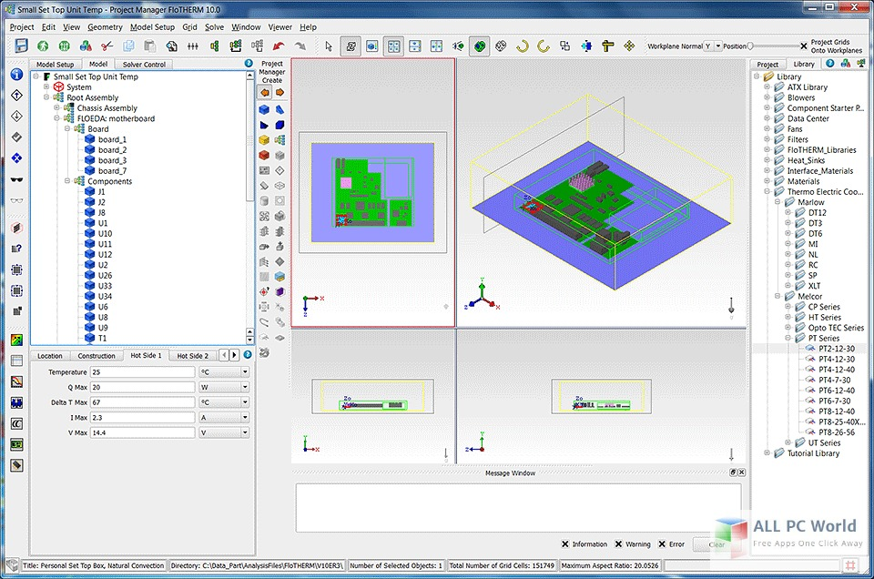 Mentor Graphics FloTHERM User Interface