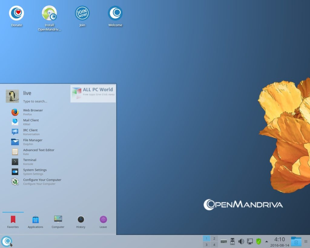 OpenMandrivaLx 3.01 User Interface