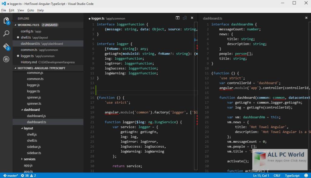 Portable Visual Studio Code 1_8_1 User Interface