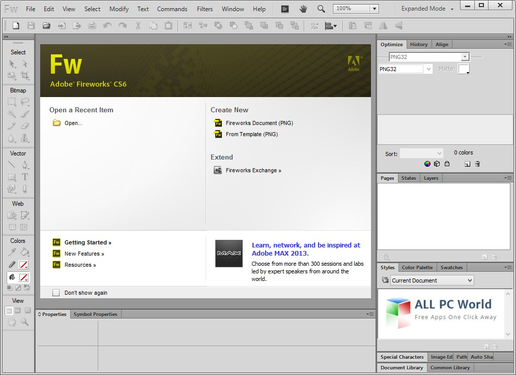 Adobe Fireworks CS6 User Interface