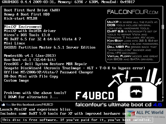 FlaconFours Ultimate Boot CD 4.61 User Interface