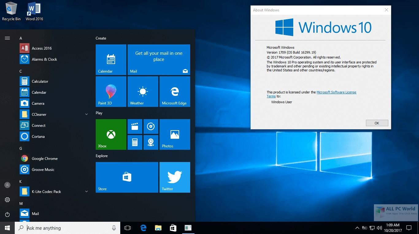 Windows 10 AIO RS3 v1709 16299.19 Review