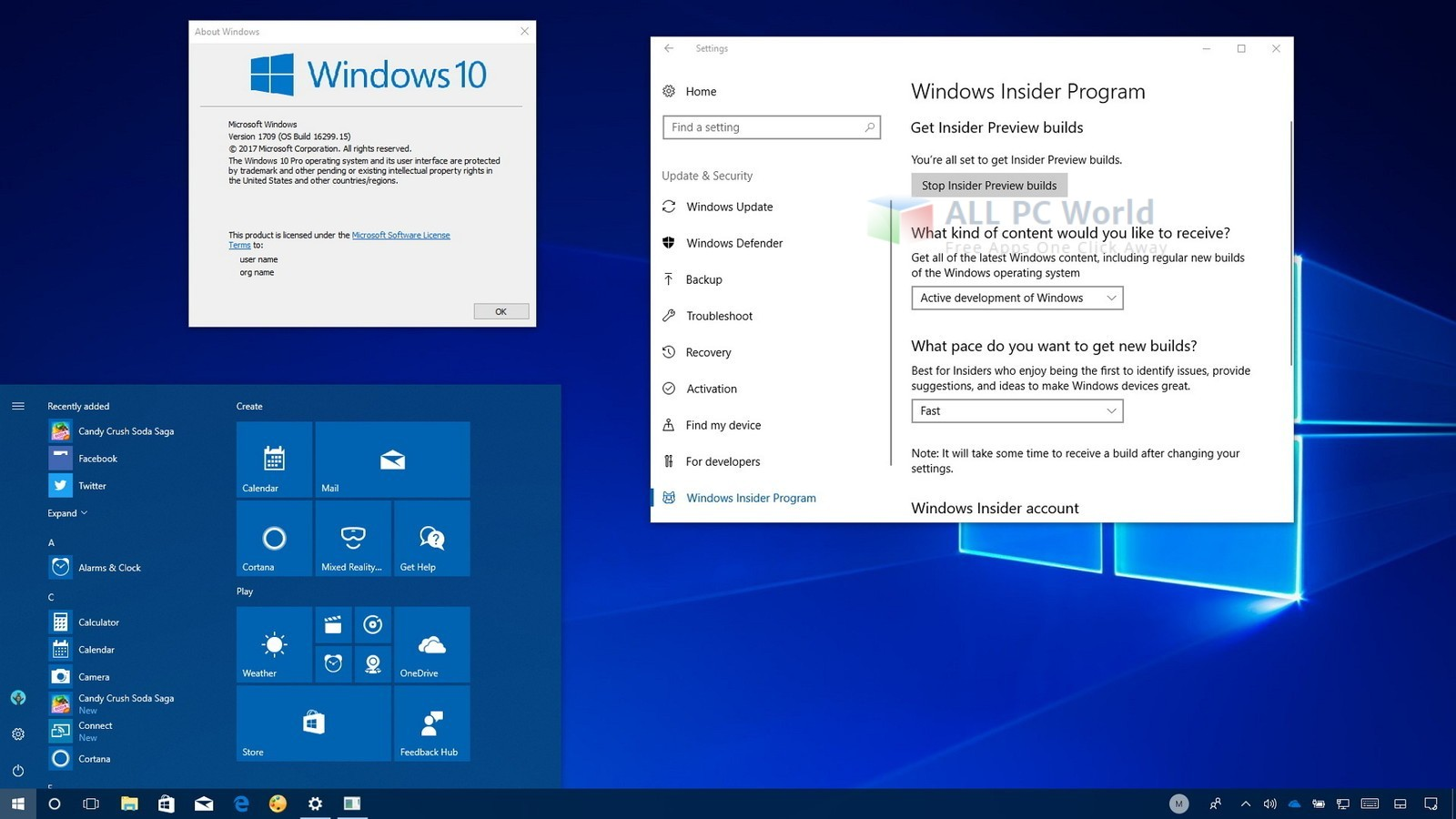 Download Windows 10 Pro v 1709 Free - ALL PC World