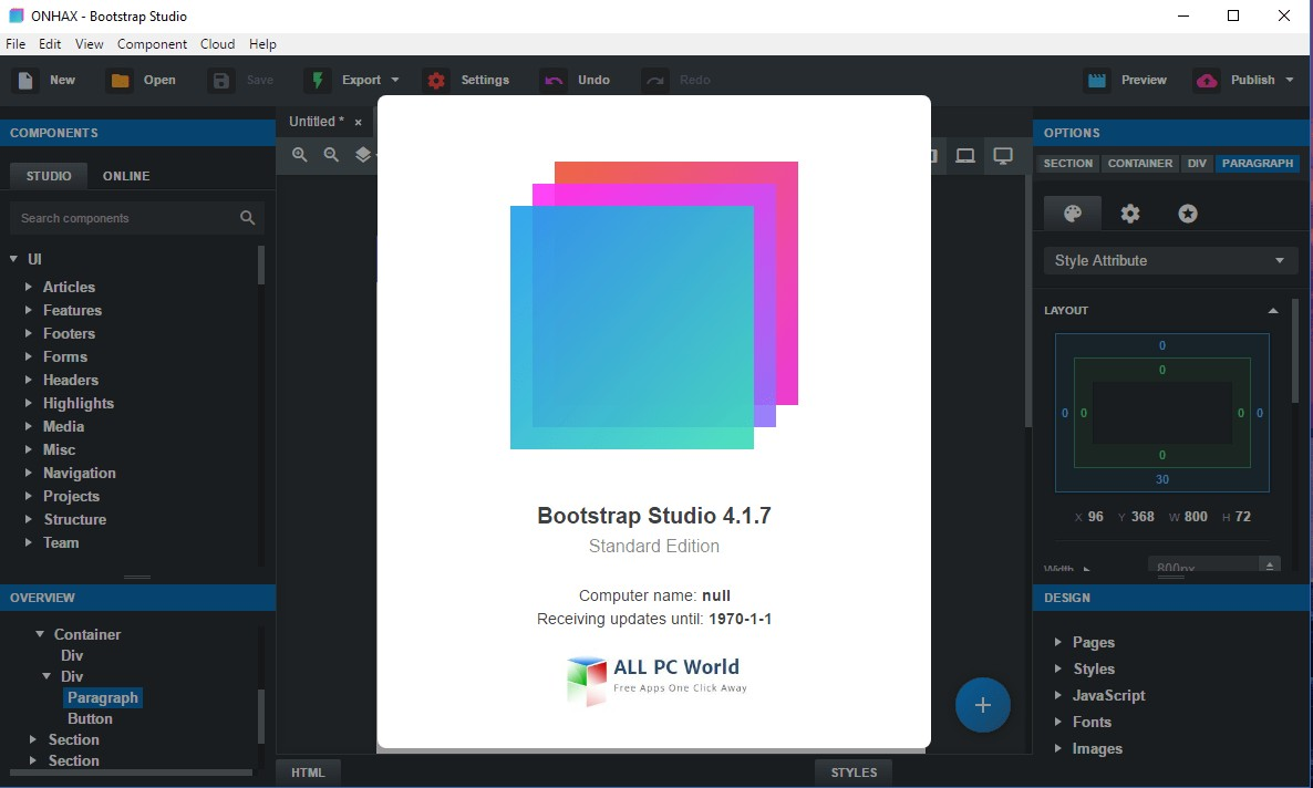 Bootstrap Studio 4.1.7 Free Download