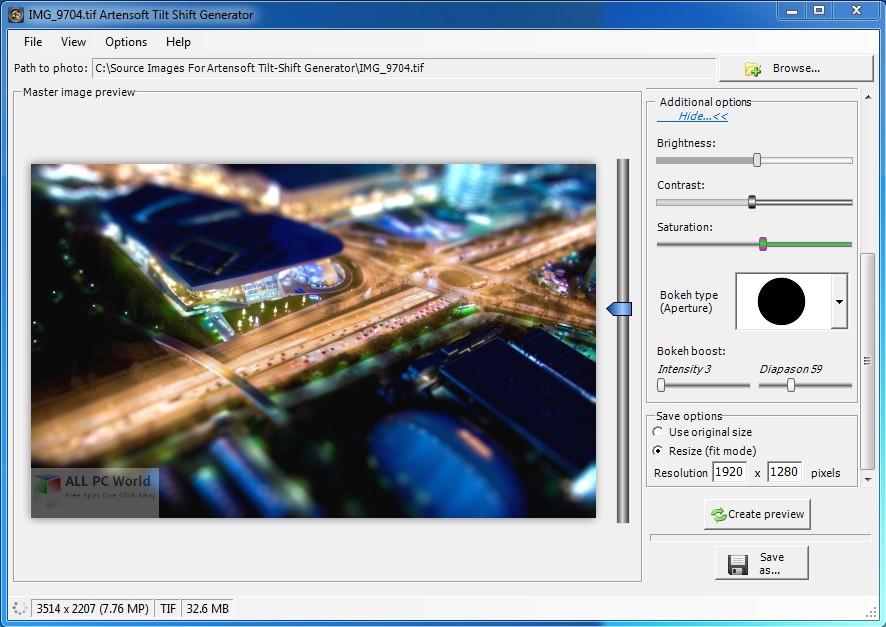 Artensoft Tilt Shift Generator 1.2 Free Download