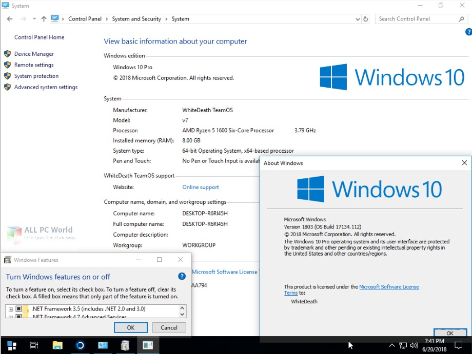 Windows 10 Lite Edition V7 2018