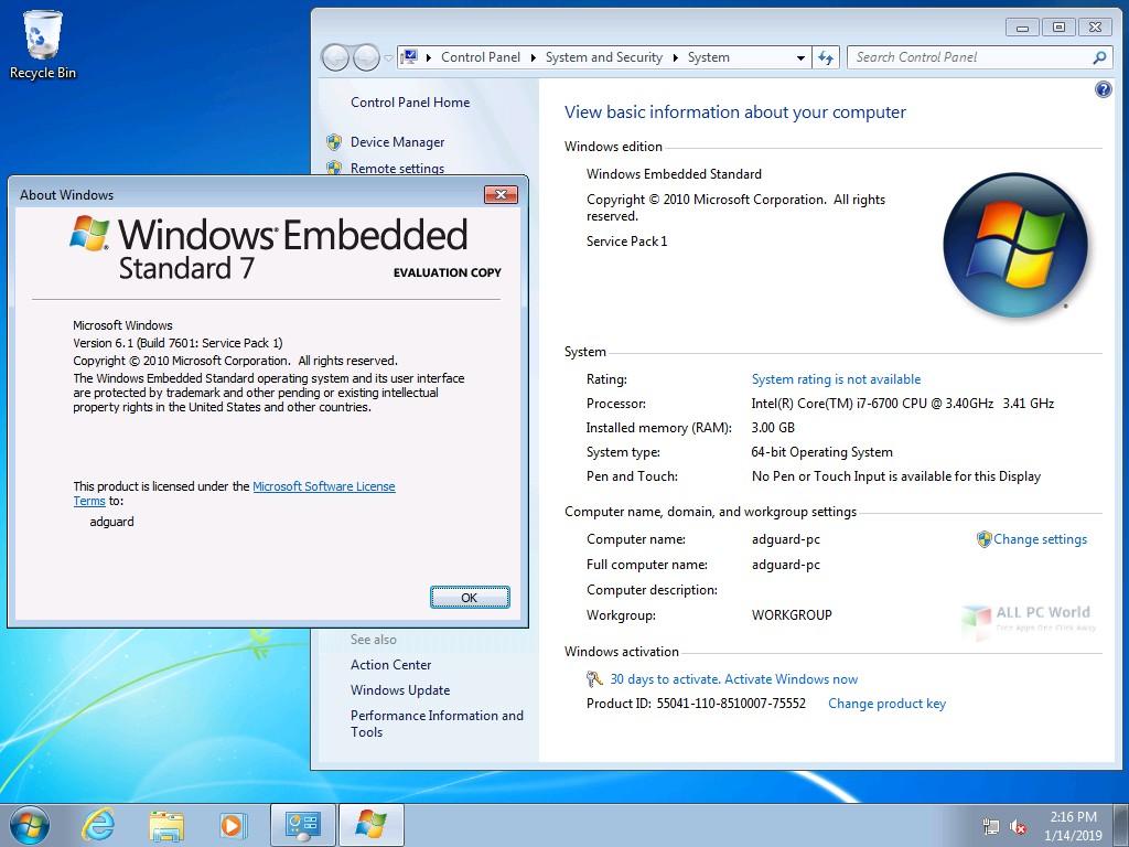 Windows Embedded Standard 7 January 2019 Free Download
