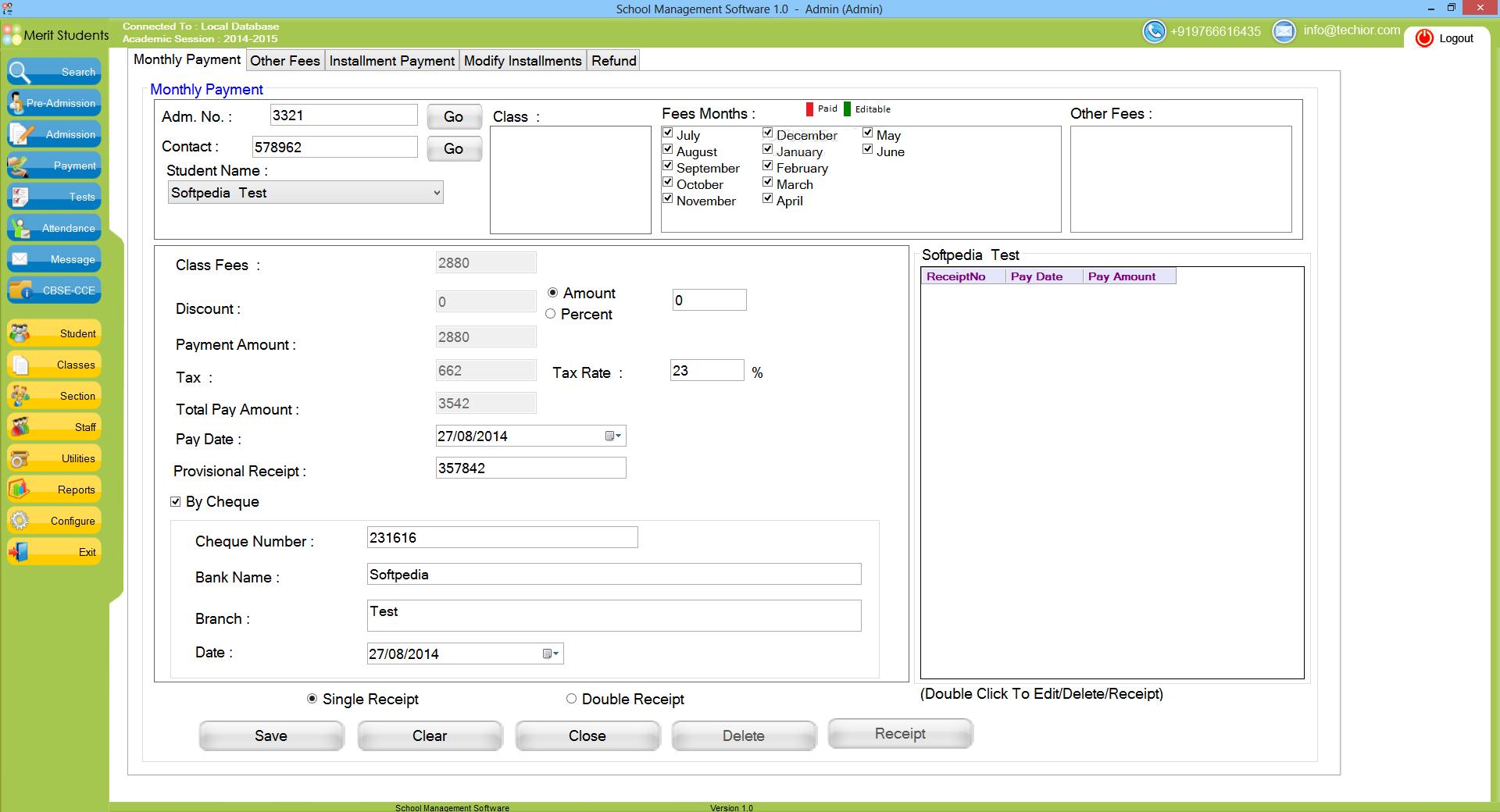 School Management Software 3.1 Free Download