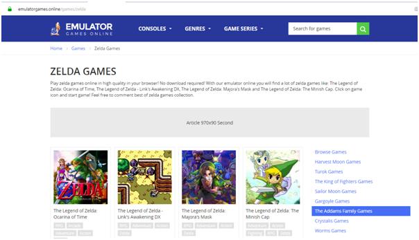 Playing Zelda Games Online