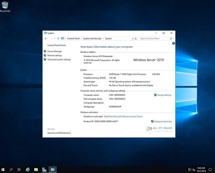 Microsoft Windows Server 2019 v1909 September 2019 Updates Download