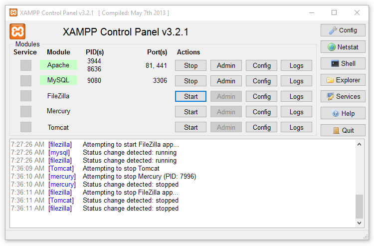XAMPP Apache Server Control Panel for Windows