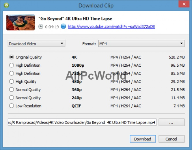 4K Video Downloader User Interface