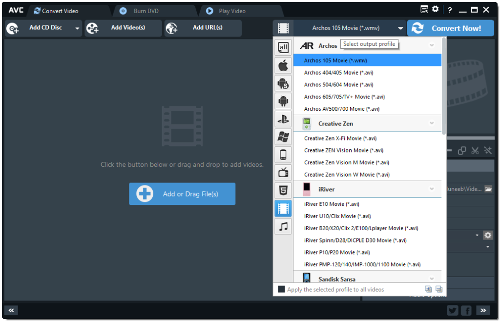 Any Video Converter User Interface