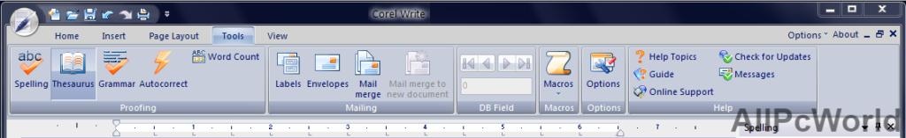 Corel Write ribbon in Corel Office