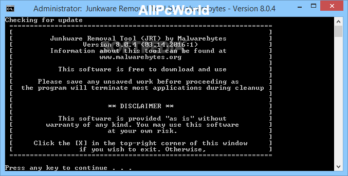 Junkware Removal Tool 8.0.7 Command Line