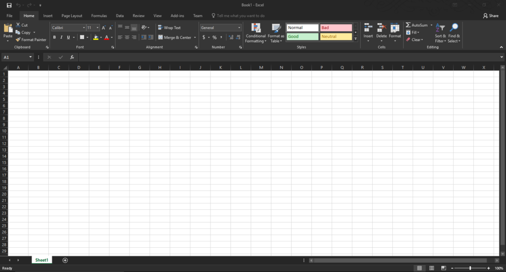 Microsoft Excel 2016 User Interface