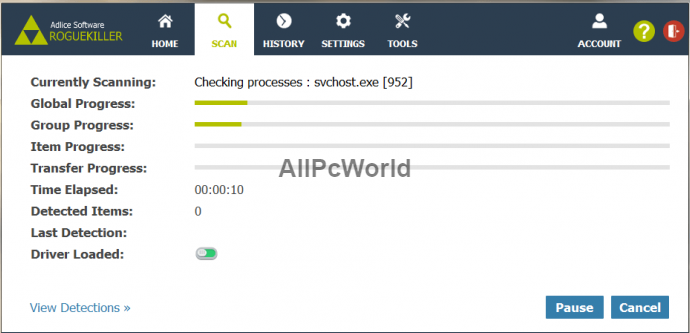 RogueKiller Anti-Malware 12.6.2 Scan Interface
