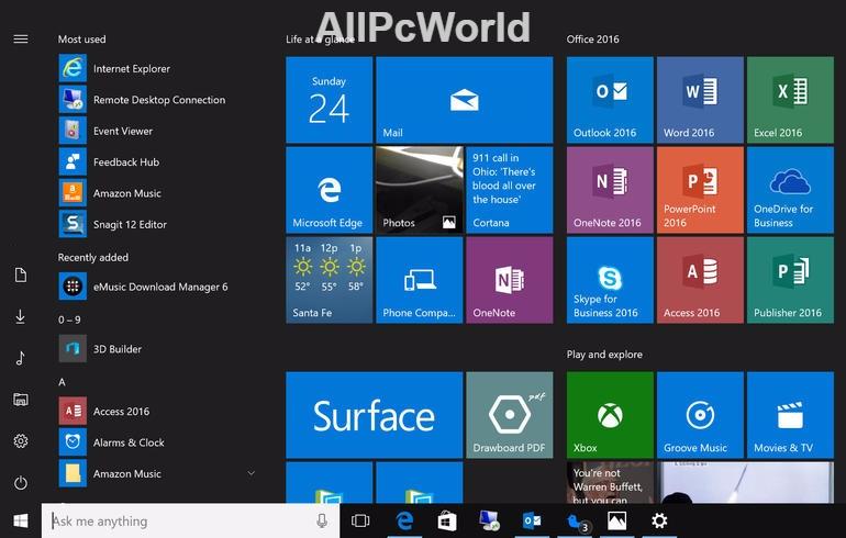 Windows 10 Anniversary Update Start Menu