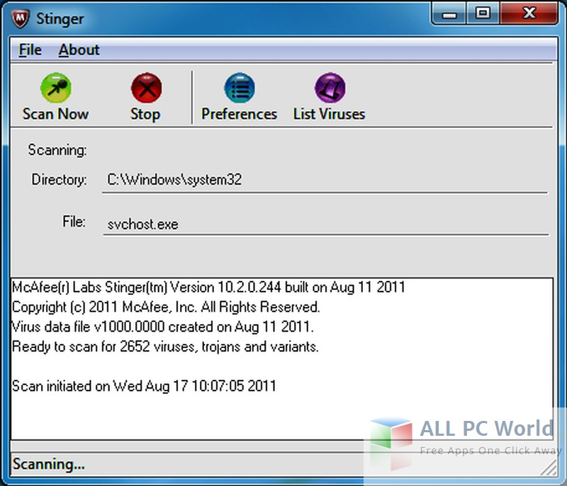 McAfee Stinger 12.1.0.2134 Reviews and Features