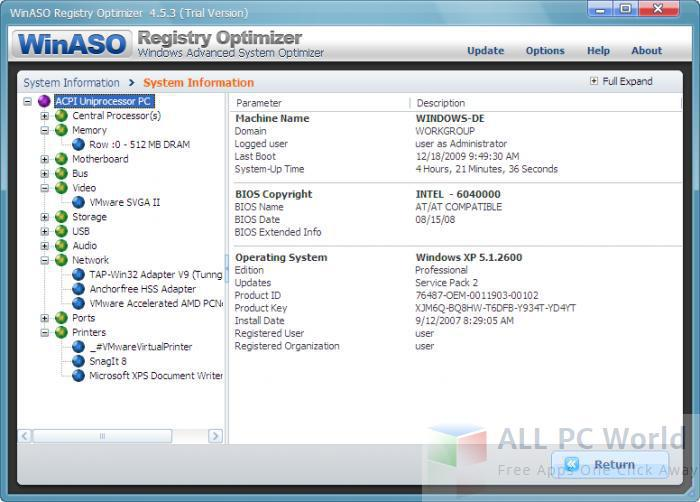 WinASO Registry Optimizer Review