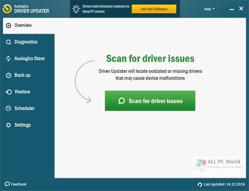 Auslogics Driver Updater 1.9 User Interface