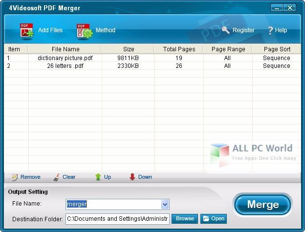 PDF Merger 3.0 User Interface