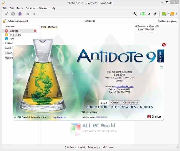 Antidote 9 Version 3 User Interface