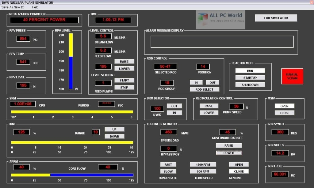Boiling Water Reactor Nuclear Simulator User Interface