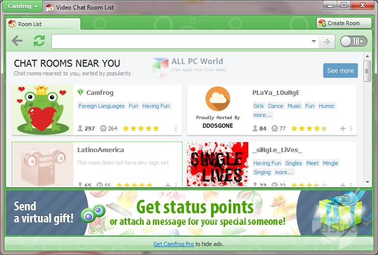 Camfrog Video Chat 6.14 User interface