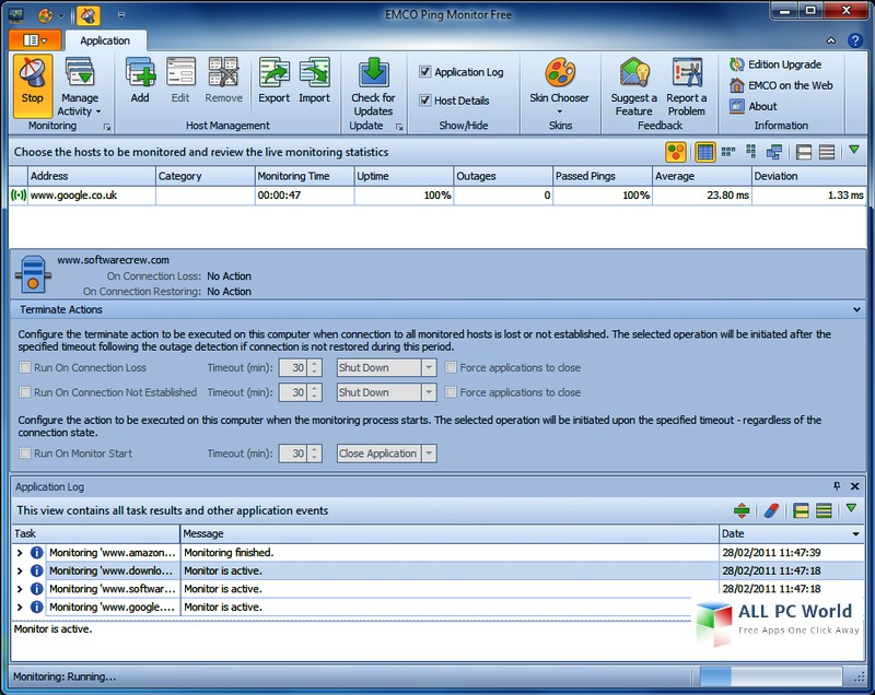 EMCO Ping Monitor 5.2 User Interface