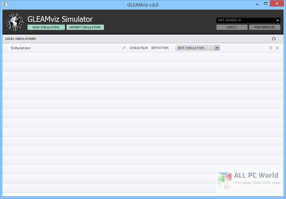 GLEAMviz Simulator 6.7 User Interface