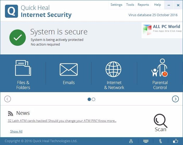 Quick Heal Internet Security 17 User Interface