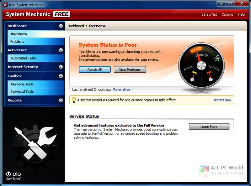 System Mechanic Free 16.5.1.27 User interface