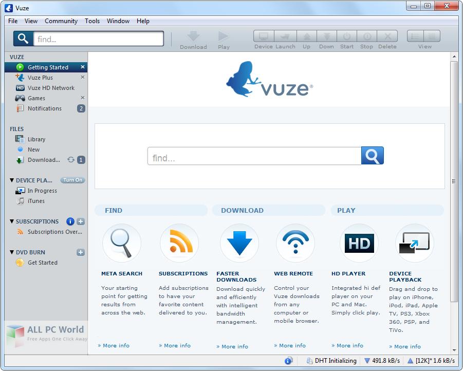 Vuze BitTorrent Client 5.7.4.0 User Interface