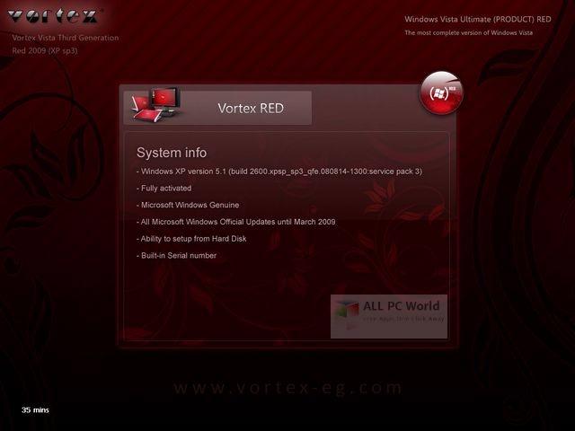 Windows XP Vortex 3G Red Edition User Interface
