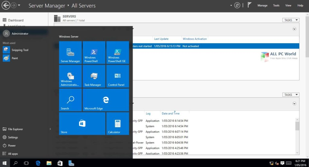 WindowsServer 2016 14393 User Interface