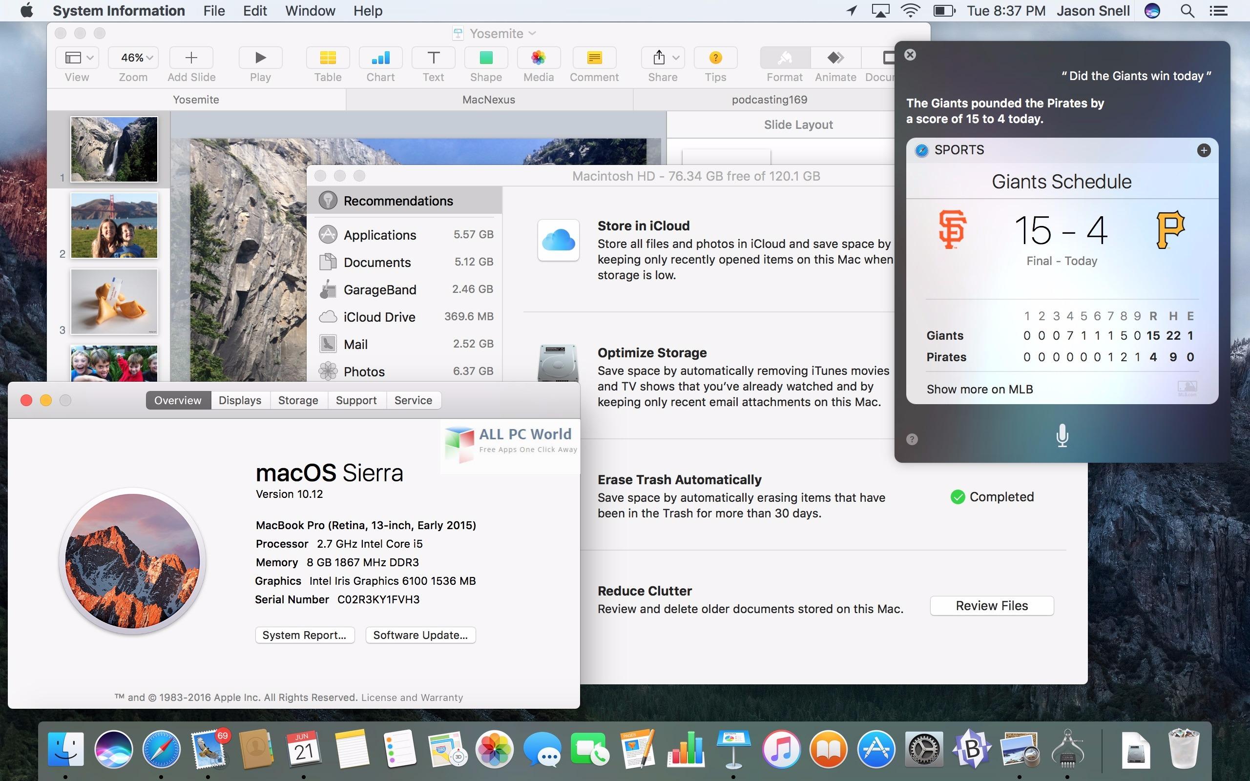 macOS Sierra 10.12 User Interface