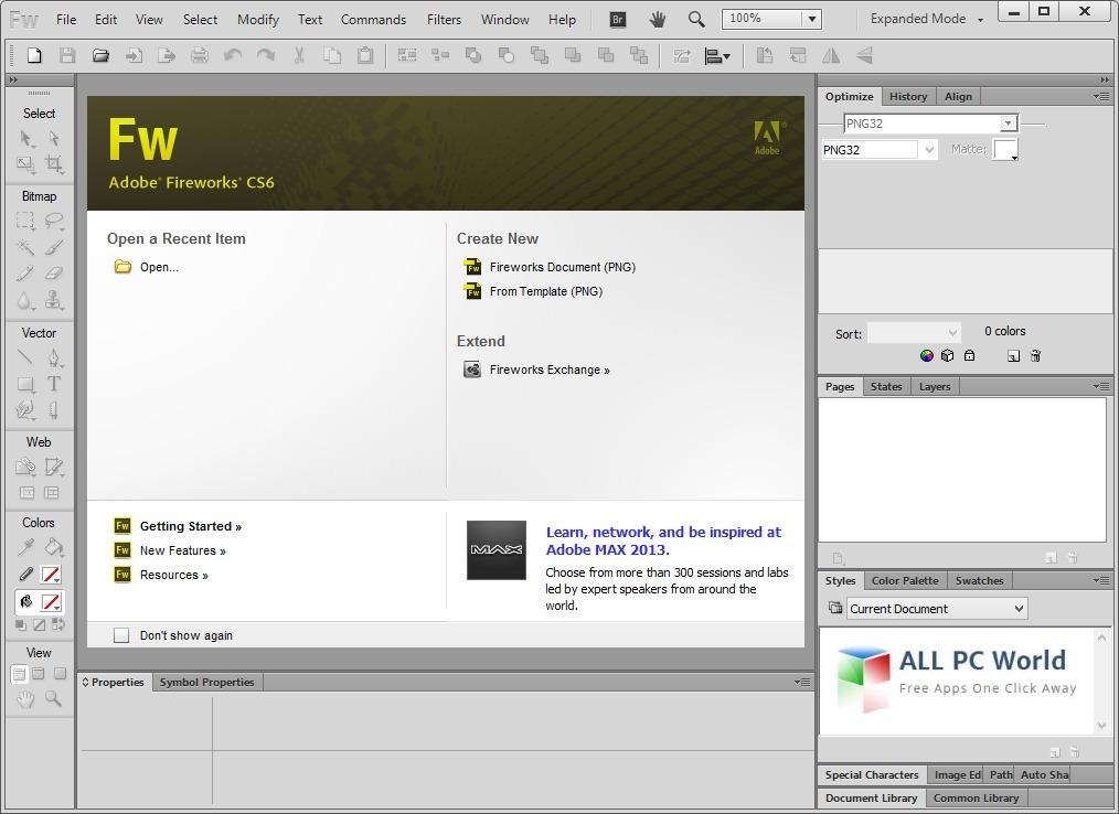 Adobe Fireworks CS6 User Interface